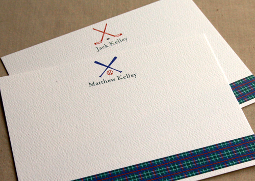 Sports Icon and Scottish Plaid Stationery